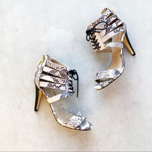 REPORT SIGNATURE Snakeskin Lace-up Heels